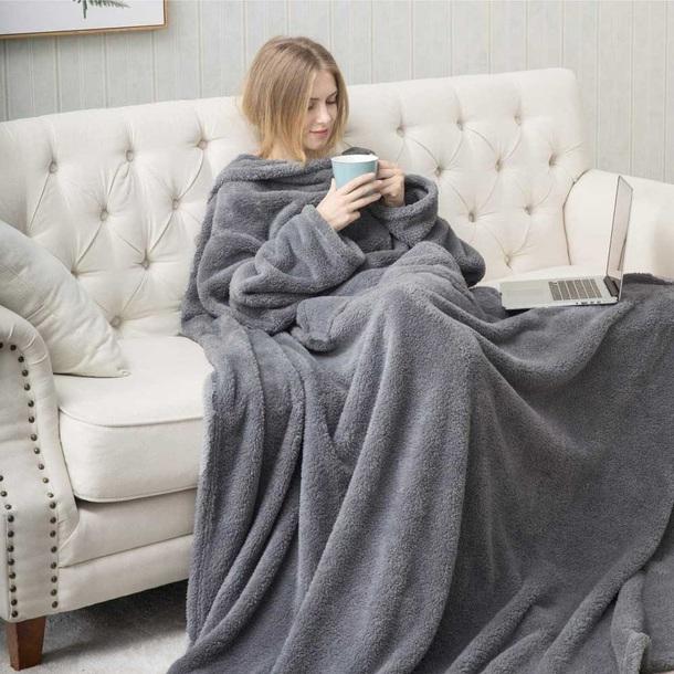 Jumbo Fleece Wrap with Sleeves