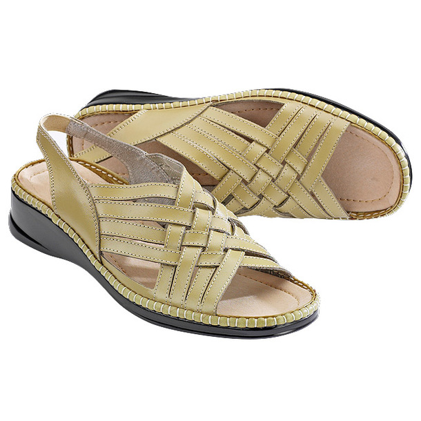 Woven Leather Sandals - Natural - 9