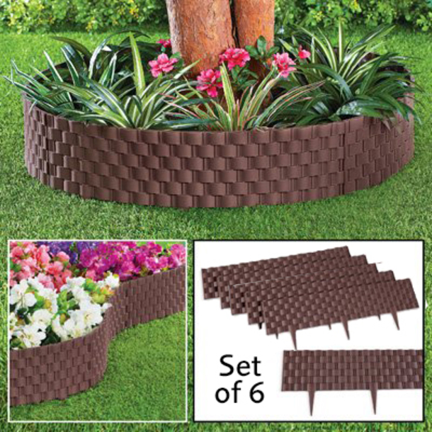 Rattan effect lawn edging (pack of 6)