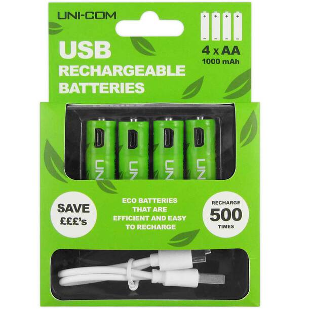 USB Rechargeable Eco Batteries (Pack of 4)