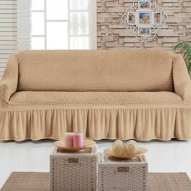 Stretch-To-Fit Furniture Covers With Valance