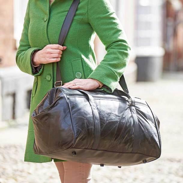 Big Mouth Leather Weekender Bag