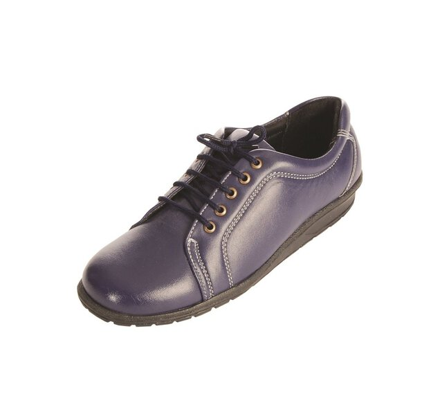 Leather Easy-Step Lace-up Shoes (Pair) - Navy - Size 5